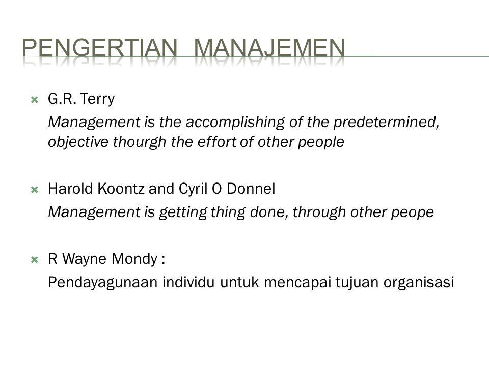 PENGERTIAN MANAJEMEN G.R. Terry