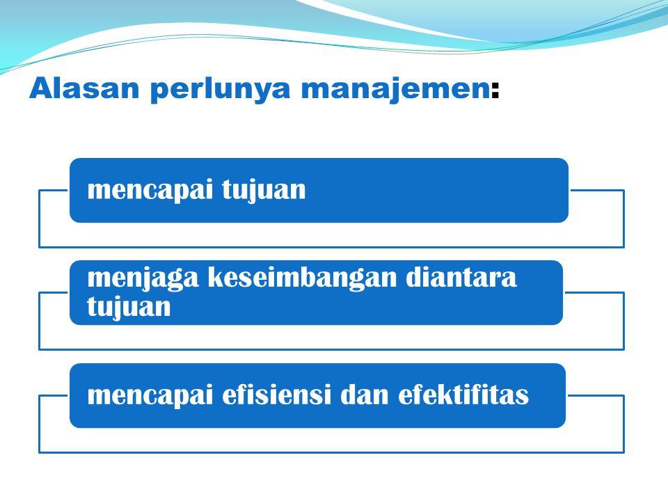 Alasan perlunya manajemen: