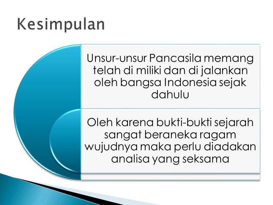 Kesimpulan Unsur-unsur Pancasila memang telah di miliki dan di jalankan oleh bangsa Indonesia sejak dahulu.