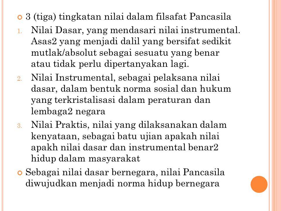 3 (tiga) tingkatan nilai dalam filsafat Pancasila