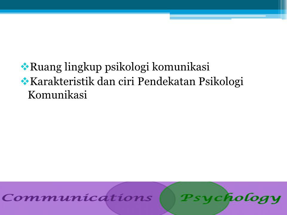 Ruang lingkup psikologi komunikasi