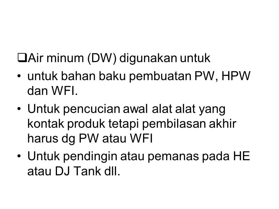 Air minum (DW) digunakan untuk