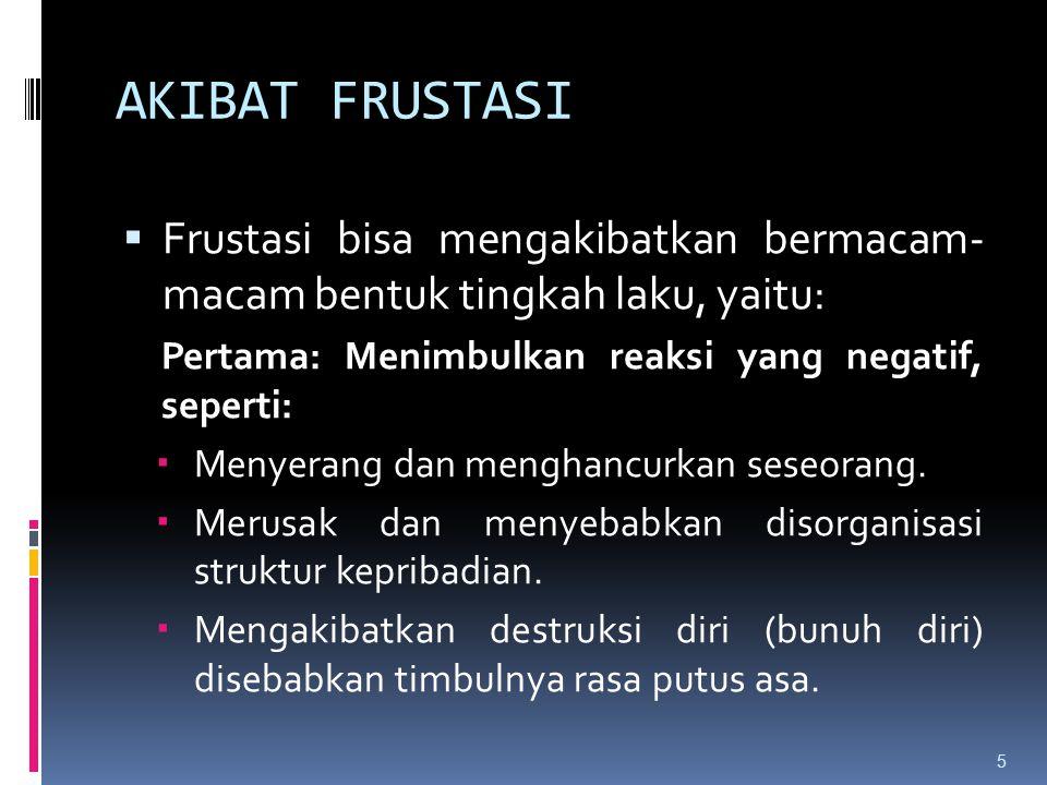 AKIBAT FRUSTASI Frustasi bisa mengakibatkan bermacam- macam bentuk tingkah laku, yaitu: Pertama: Menimbulkan reaksi yang negatif, seperti:
