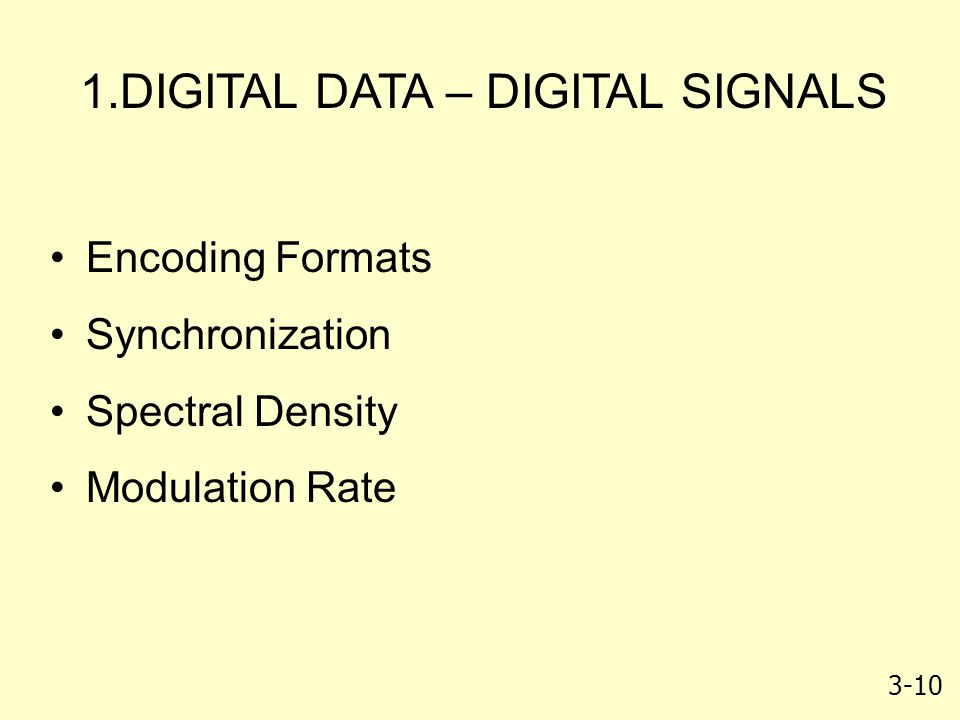 DIGITAL DATA – DIGITAL SIGNALS