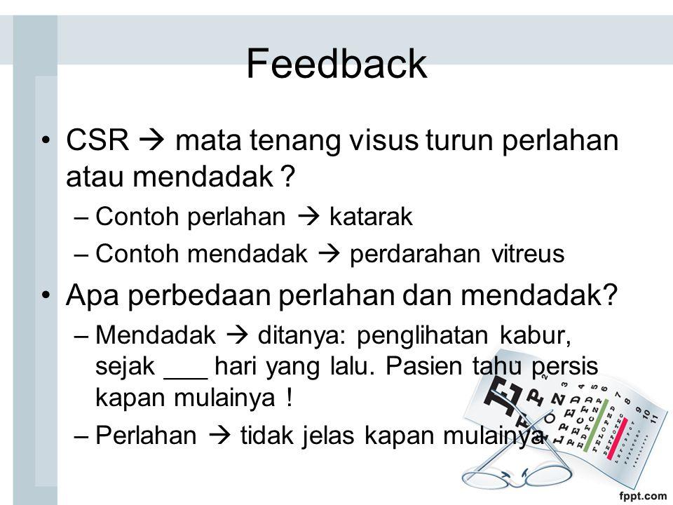 Feedback CSR  mata tenang visus turun perlahan atau mendadak