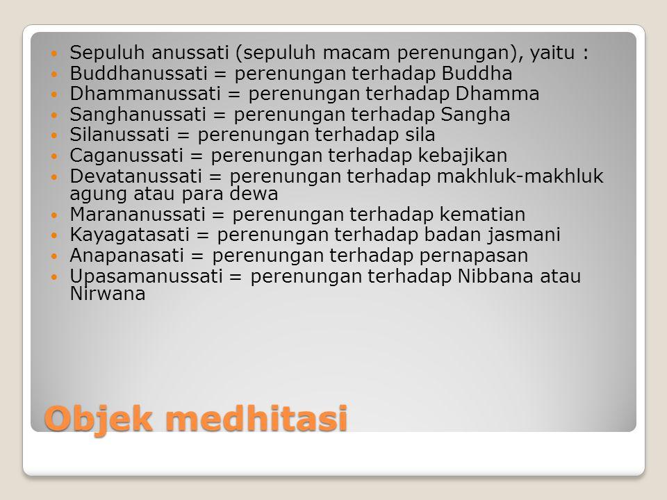 Objek medhitasi Sepuluh anussati (sepuluh macam perenungan), yaitu :