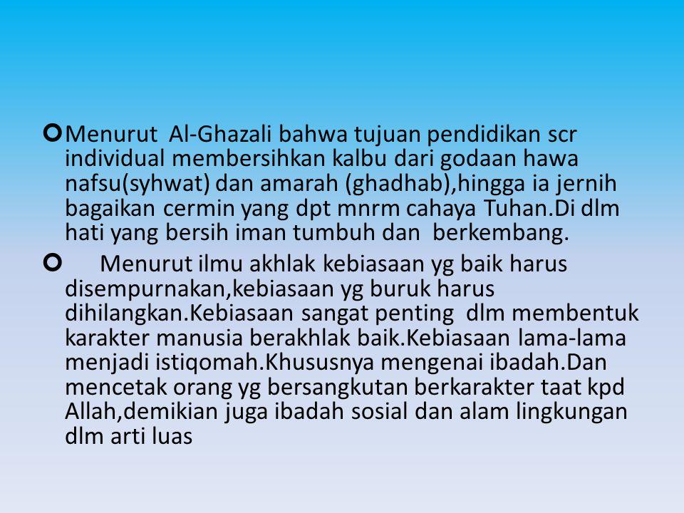 Menurut Al-Ghazali bahwa tujuan pendidikan scr individual membersihkan kalbu dari godaan hawa nafsu(syhwat) dan amarah (ghadhab),hingga ia jernih bagaikan cermin yang dpt mnrm cahaya Tuhan.Di dlm hati yang bersih iman tumbuh dan berkembang.