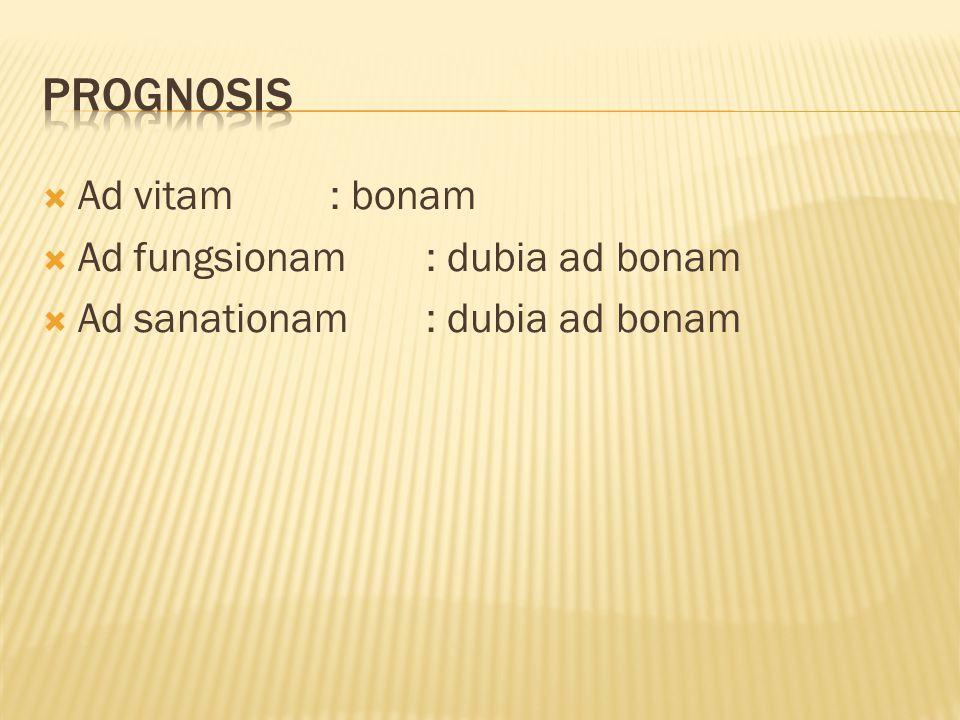 prognosis Ad vitam : bonam Ad fungsionam : dubia ad bonam