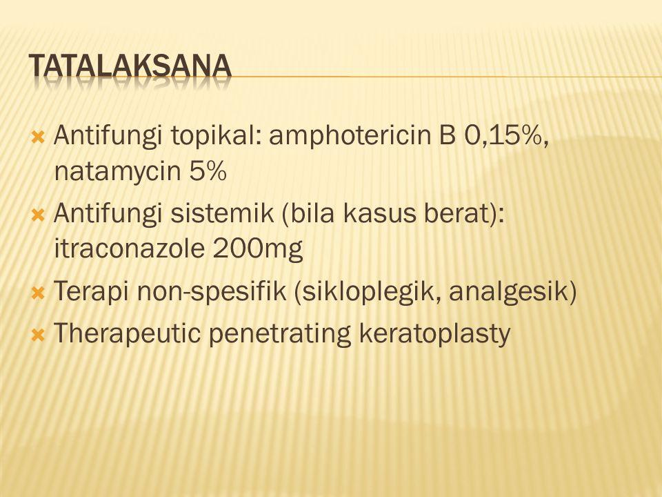 tatalaksana Antifungi topikal: amphotericin B 0,15%, natamycin 5%