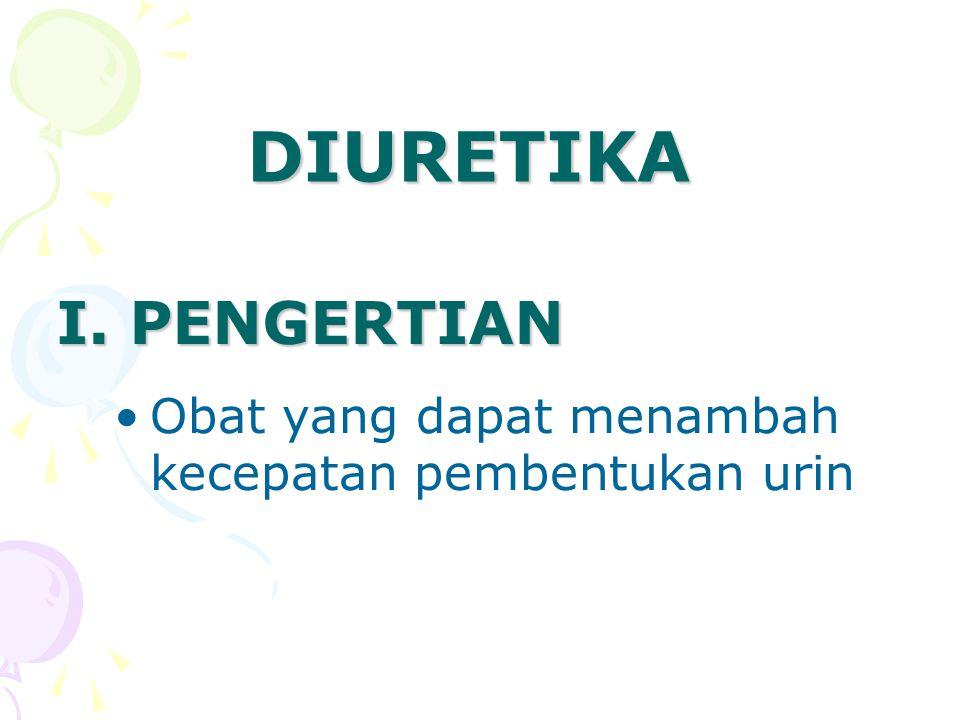 DIURETIKA I. PENGERTIAN