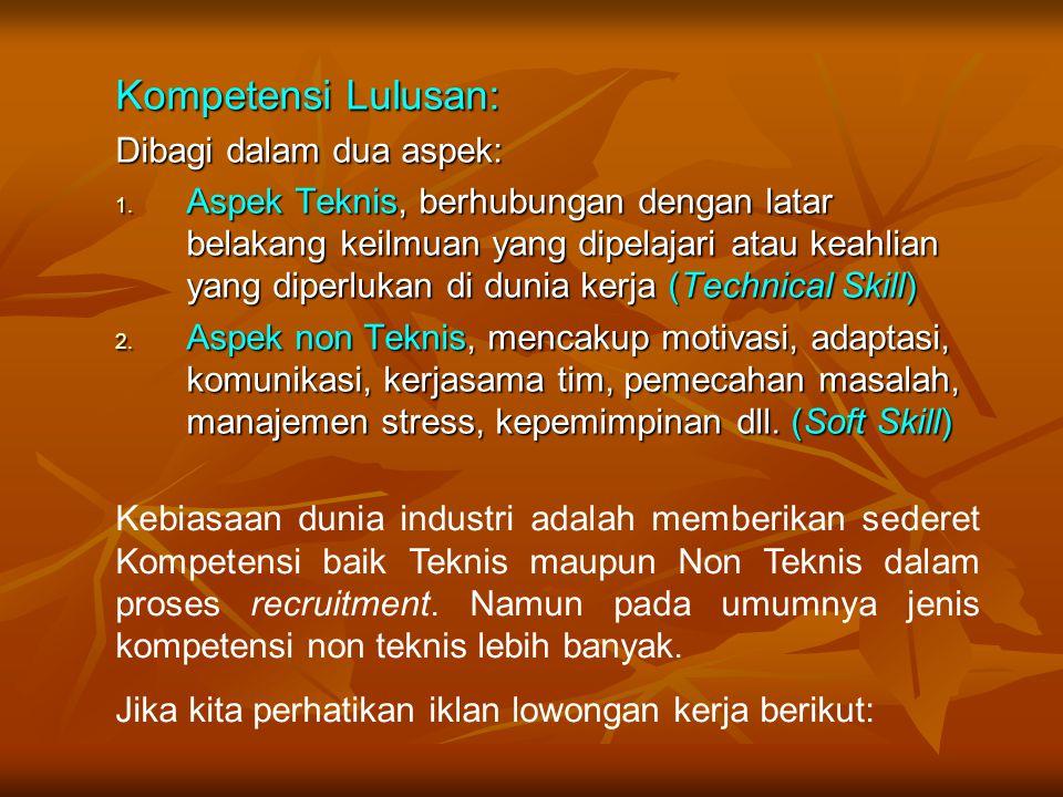 Kompetensi Lulusan: Dibagi dalam dua aspek: