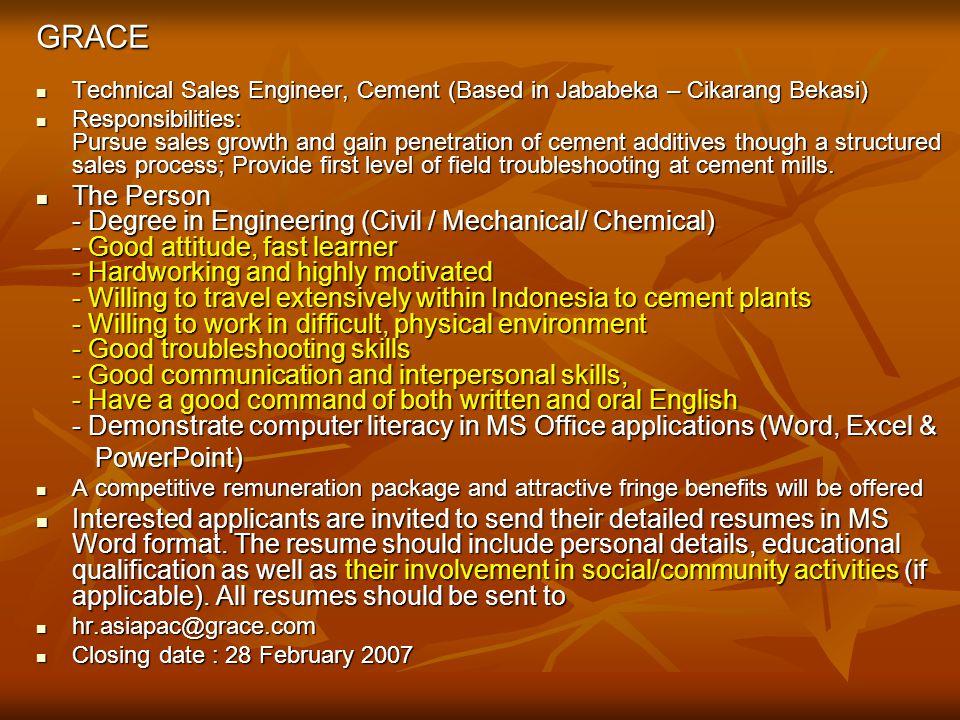 GRACE Technical Sales Engineer, Cement (Based in Jababeka – Cikarang Bekasi)
