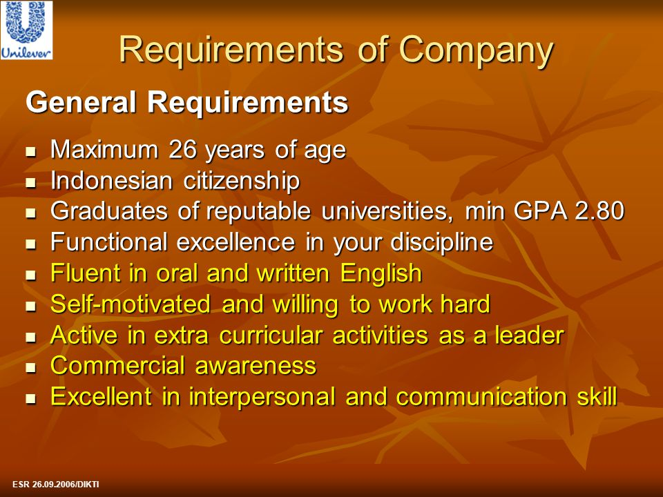 Requirements of Company