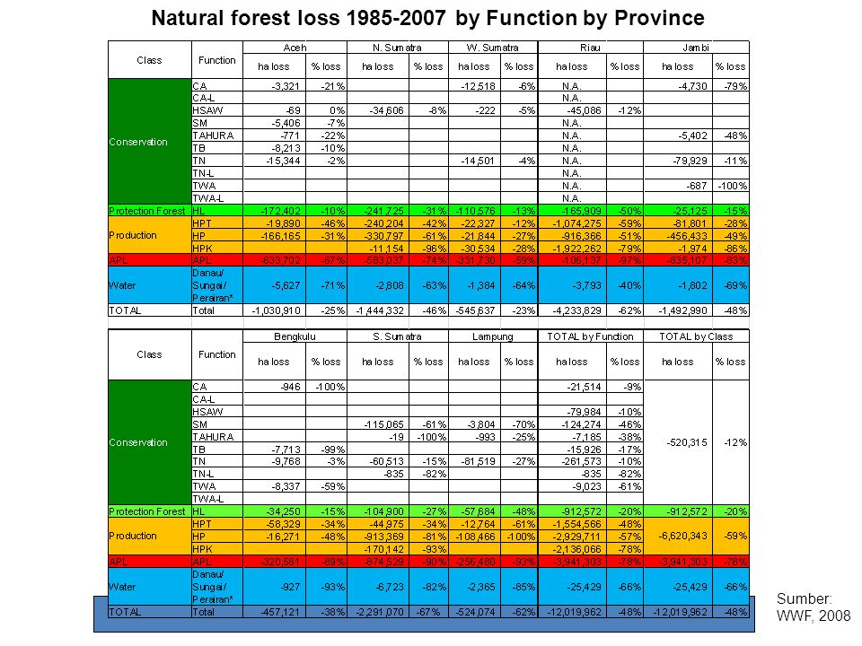 Natural forest loss 1985-2007 by Function by Province