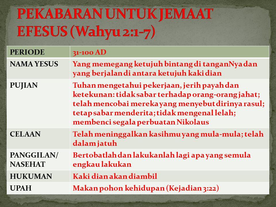 PEKABARAN UNTUK JEMAAT EFESUS (Wahyu 2:1-7)