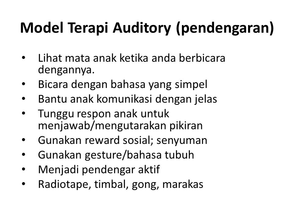 Model Terapi Auditory (pendengaran)