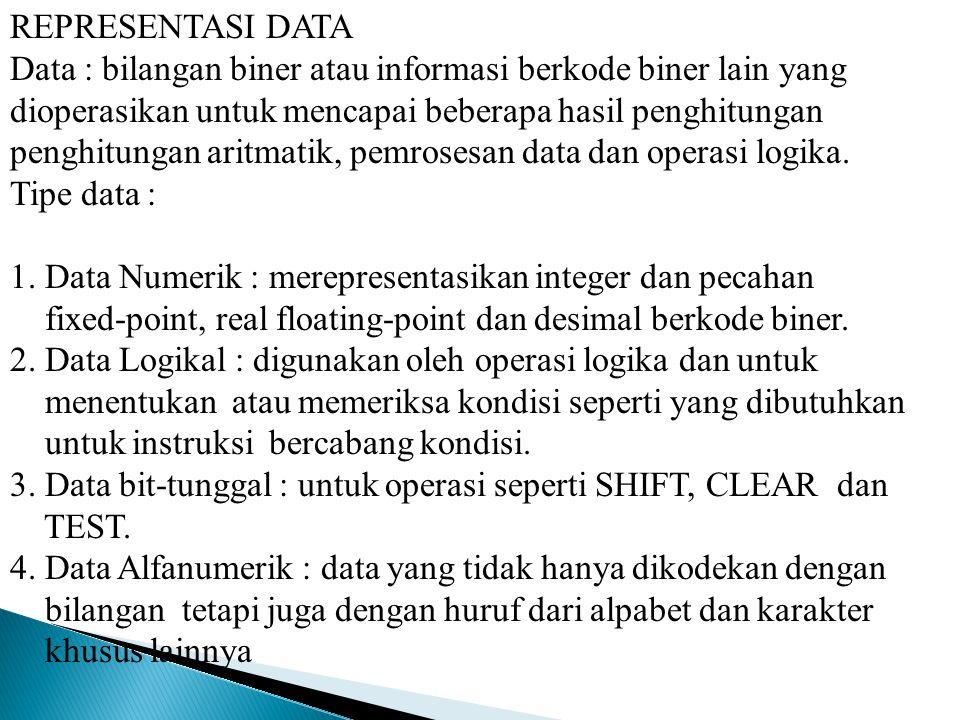 REPRESENTASI DATA Data : bilangan biner atau informasi berkode biner lain yang. dioperasikan untuk mencapai beberapa hasil penghitungan.