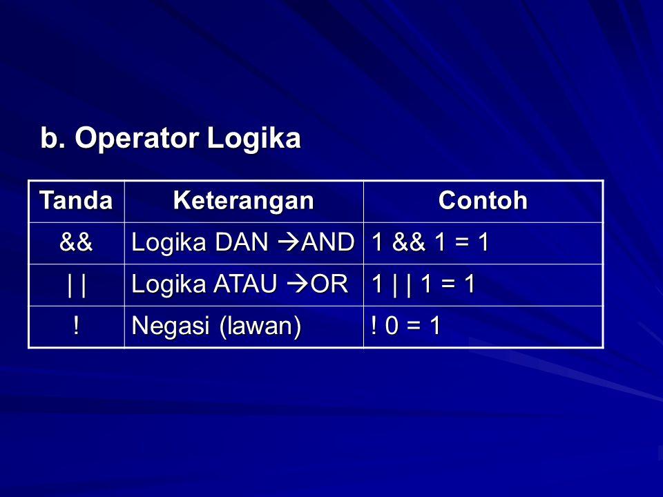 b. Operator Logika Tanda Keterangan Contoh && Logika DAN AND