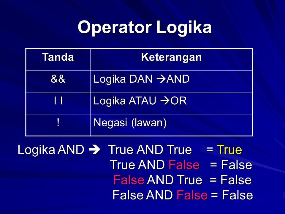 Operator Logika Tanda. Keterangan. && Logika DAN AND. I I. Logika ATAU OR. ! Negasi (lawan)