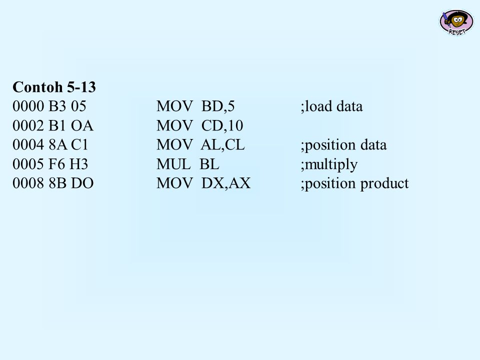 Contoh 5-13 0000 B3 05 MOV BD,5 ;load data. 0002 B1 OA MOV CD,10. 0004 8A C1 MOV AL,CL ;position data.