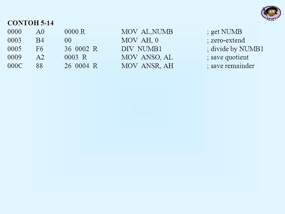 CONTOH 5-14 0000 A0 0000 R MOV AL,NUMB ; get NUMB. 0003 B4 00 MOV AH, 0 ; zero-extend. 0005 F6 36 0002 R DIV NUMB1 ; divide by NUMB1.