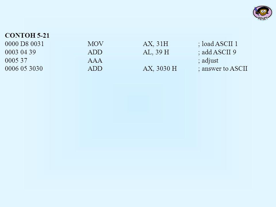 CONTOH 5-21 0000 D8 0031 MOV AX, 31H ; load ASCII 1. 0003 04 39 ADD AL, 39 H ; add ASCII 9. 0005 37 AAA ; adjust.