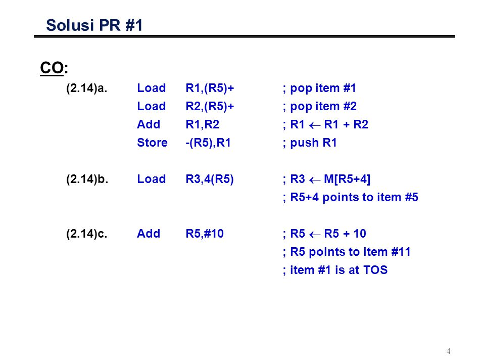 Solusi PR #1 CO: (2.14)a. Load R1,(R5)+ ; pop item #1