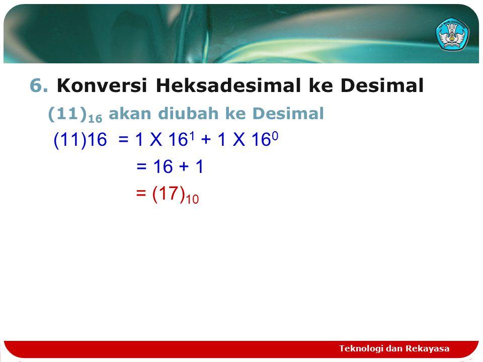 Konversi Heksadesimal ke Desimal (11)16 akan diubah ke Desimal
