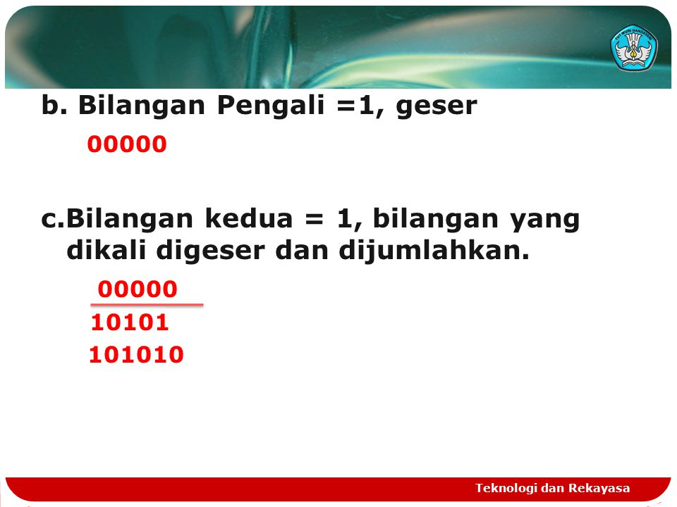 b. Bilangan Pengali =1, geser 00000