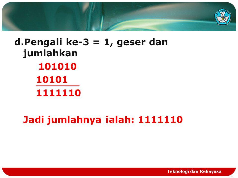 d.Pengali ke-3 = 1, geser dan jumlahkan 101010 10101 1111110 Jadi jumlahnya ialah: 1111110
