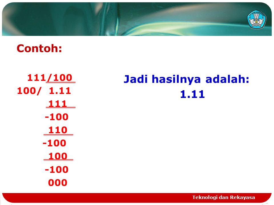 Contoh: Jadi hasilnya adalah: 1.11 111/100 100/ 1.11 111 -100 110 100