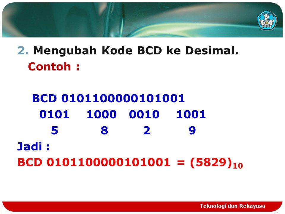 Mengubah Kode BCD ke Desimal. Contoh : BCD 0101100000101001