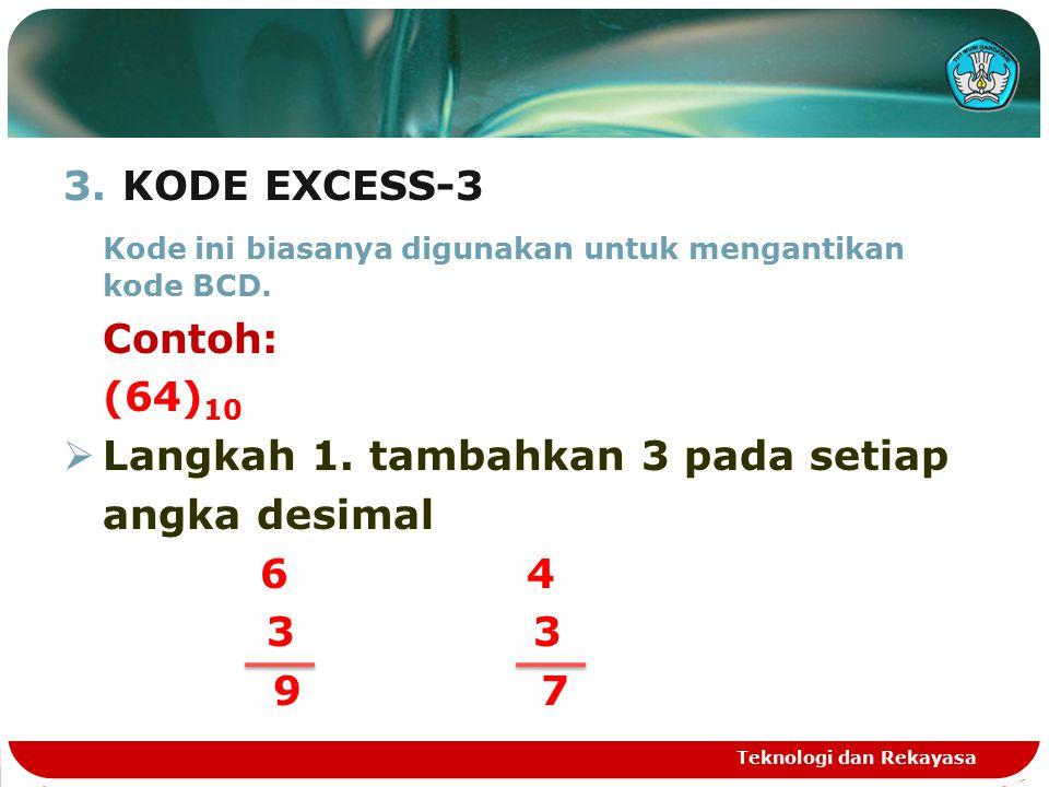 Kode ini biasanya digunakan untuk mengantikan kode BCD. Contoh: (64)10