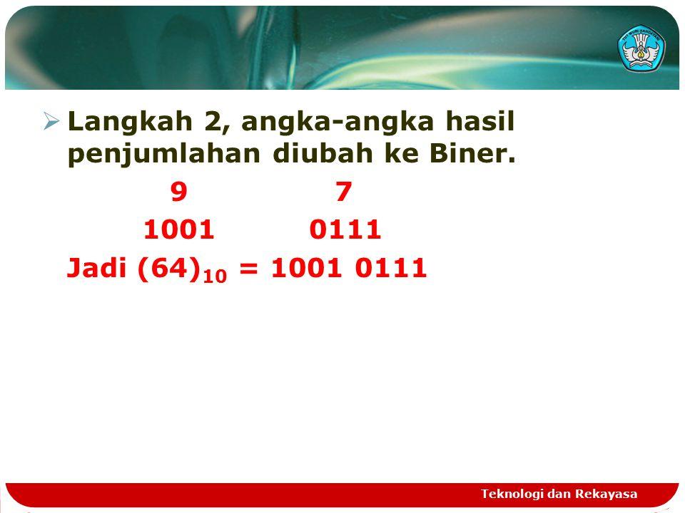 Langkah 2, angka-angka hasil penjumlahan diubah ke Biner. 9 7