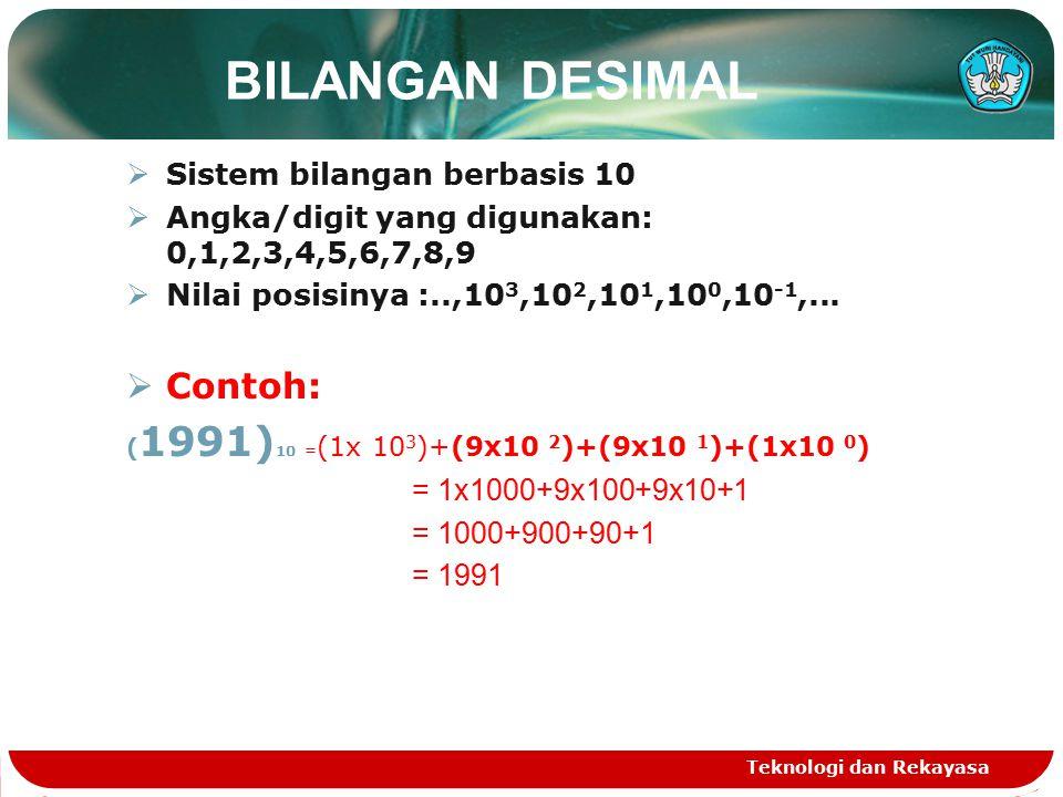 BILANGAN DESIMAL Contoh: Sistem bilangan berbasis 10
