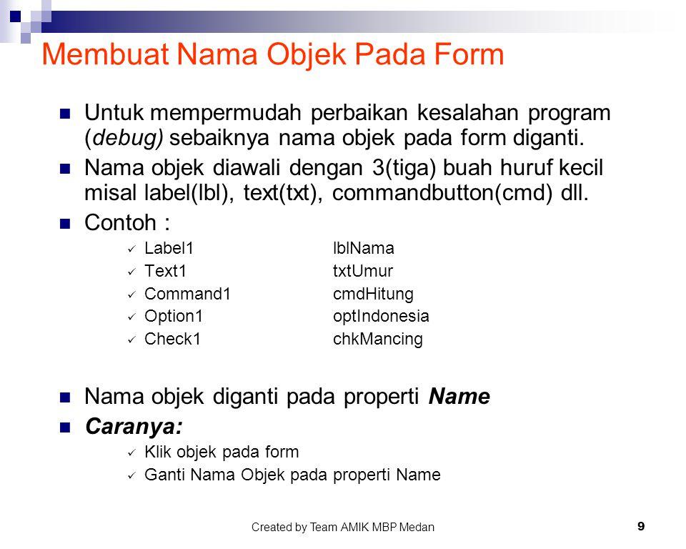 Membuat Nama Objek Pada Form
