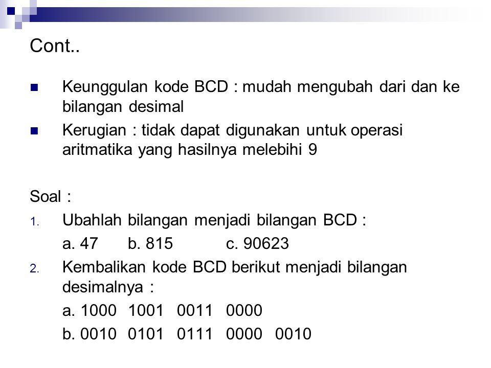 Cont.. Keunggulan kode BCD : mudah mengubah dari dan ke bilangan desimal.