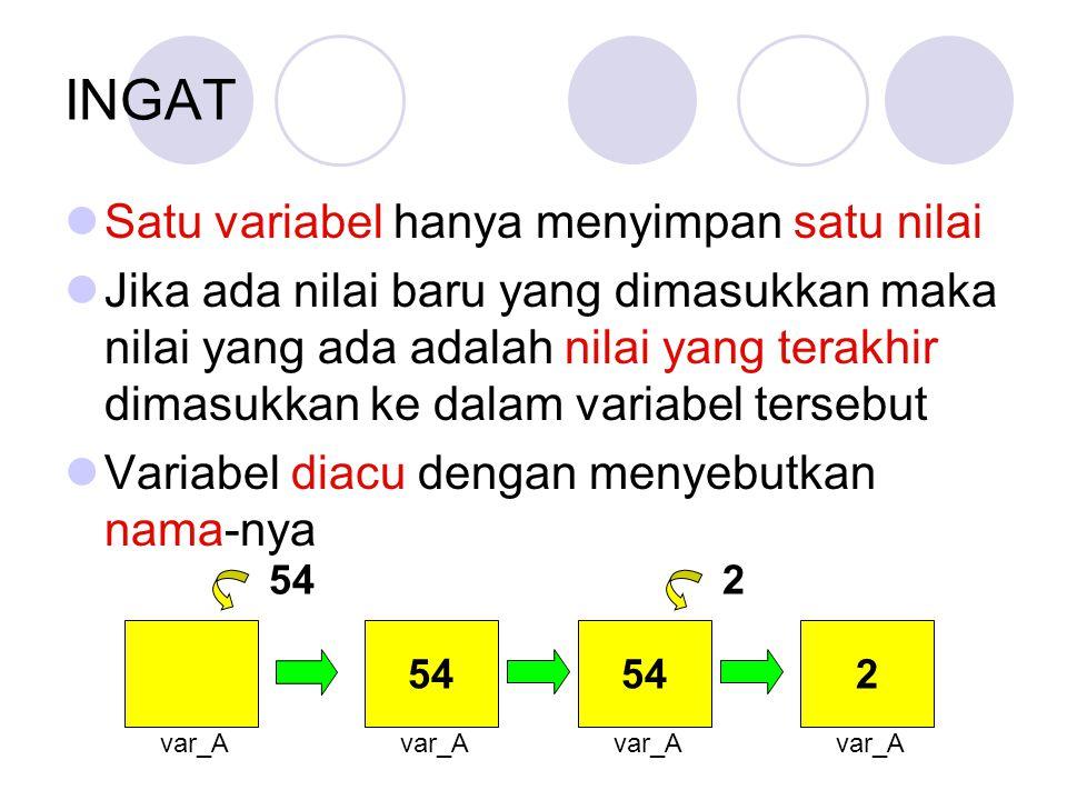 INGAT Satu variabel hanya menyimpan satu nilai