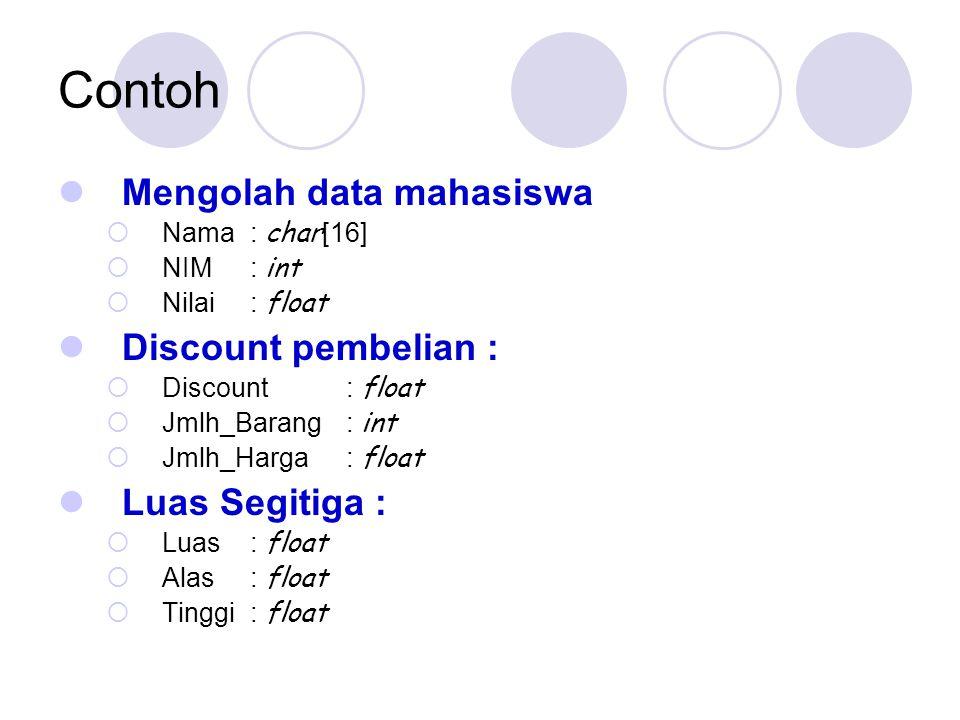 Contoh Mengolah data mahasiswa Discount pembelian : Luas Segitiga :