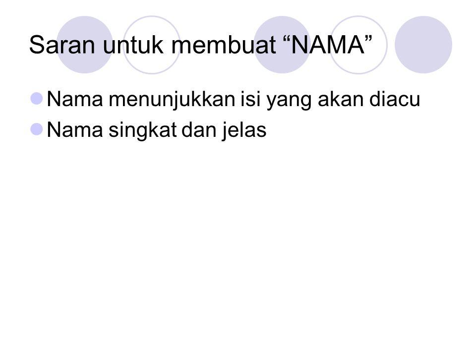 Saran untuk membuat NAMA