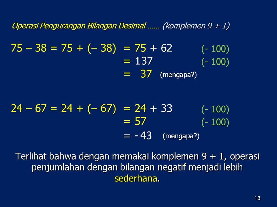 Operasi Pengurangan Bilangan Desimal …… (komplemen 9 + 1)