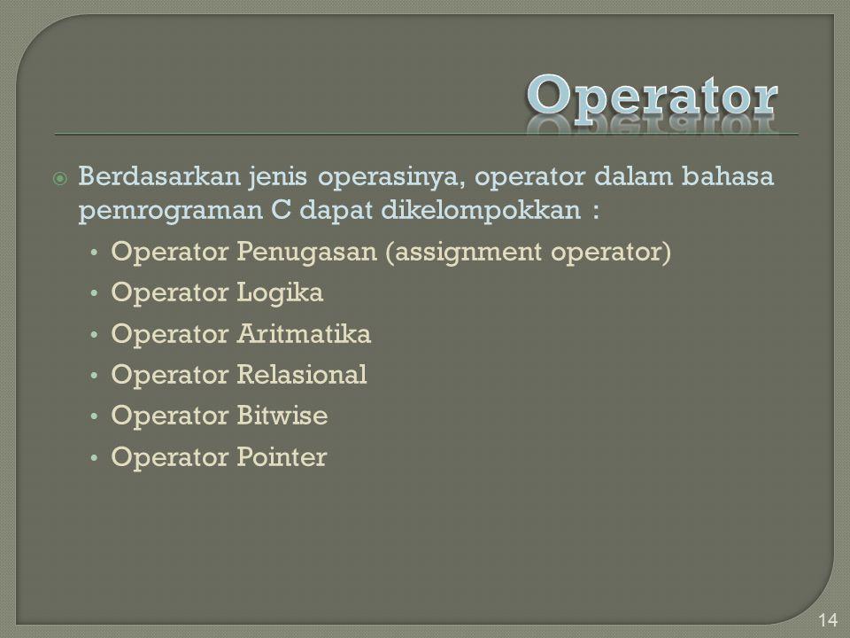 Operator Berdasarkan jenis operasinya, operator dalam bahasa pemrograman C dapat dikelompokkan : Operator Penugasan (assignment operator)