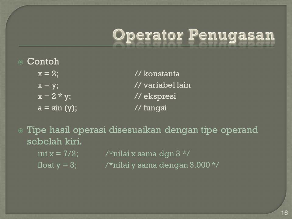 Operator Penugasan Contoh
