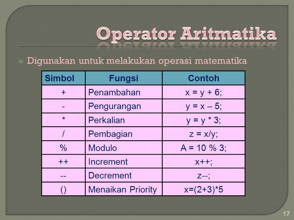 Operator Aritmatika Digunakan untuk melakukan operasi matematika