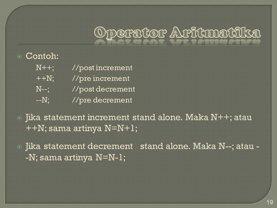 Operator Aritmatika Contoh: