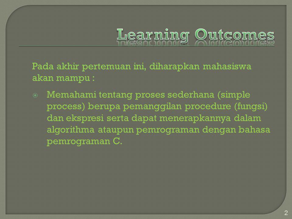 Learning Outcomes Pada akhir pertemuan ini, diharapkan mahasiswa akan mampu :