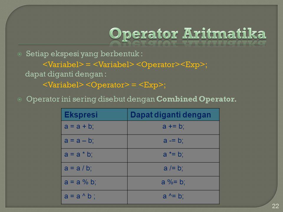 Operator Aritmatika Setiap ekspesi yang berbentuk :