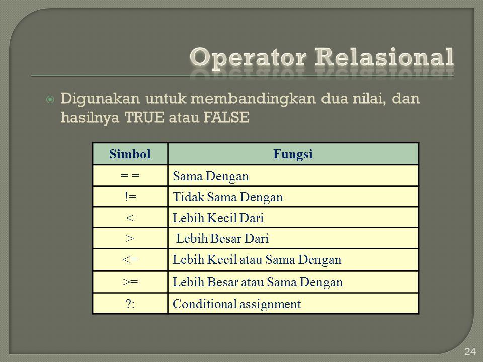 Operator Relasional Digunakan untuk membandingkan dua nilai, dan hasilnya TRUE atau FALSE. Simbol.