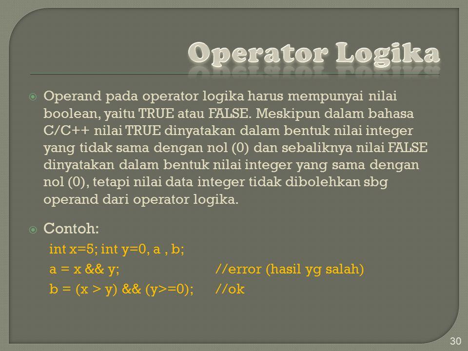 Operator Logika Contoh: