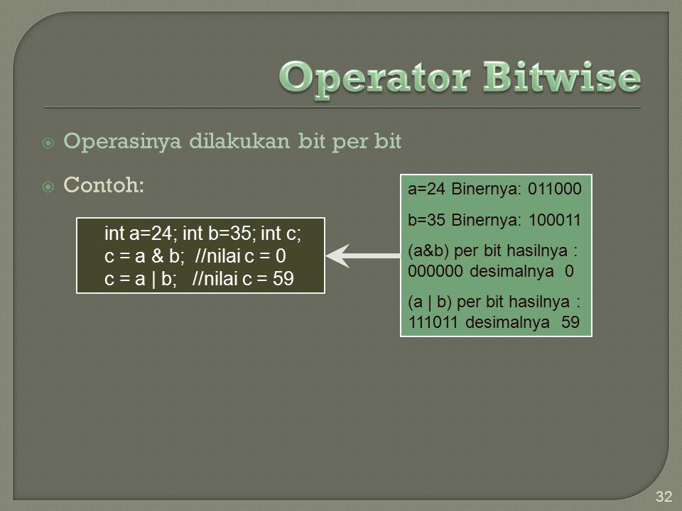 Operator Bitwise Operasinya dilakukan bit per bit Contoh: